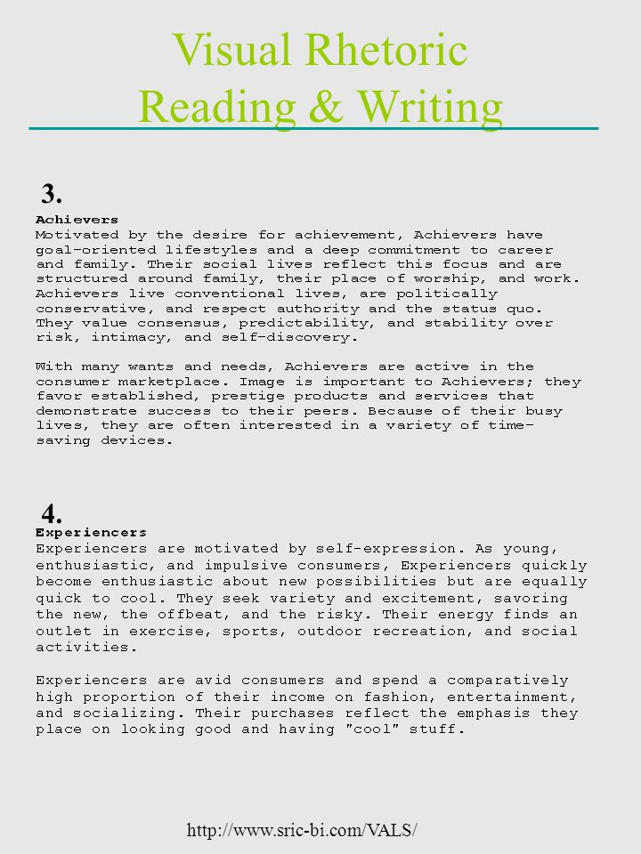 Visual Rhetoric Reading & Writing 3. 4. http://www.sric-bi.com/VALS/