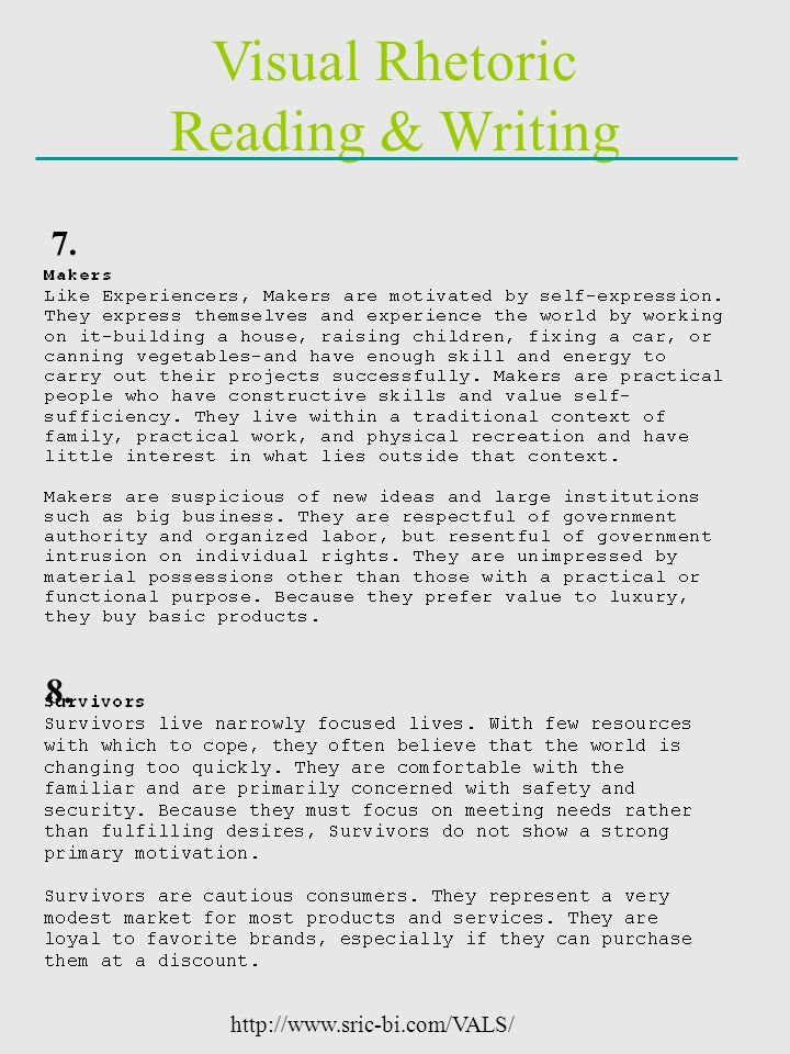 Visual Rhetoric Reading & Writing 7. 8. http://www.sric-bi.com/VALS/