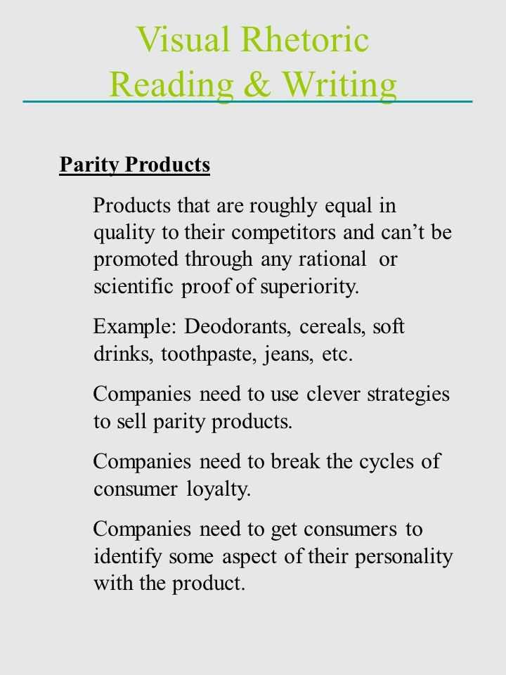 Visual Rhetoric Reading & Writing Parity Products