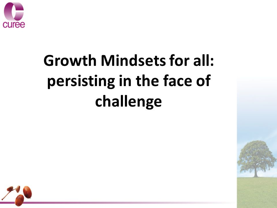 Growth Mindsets for all: persisting in the face of challenge