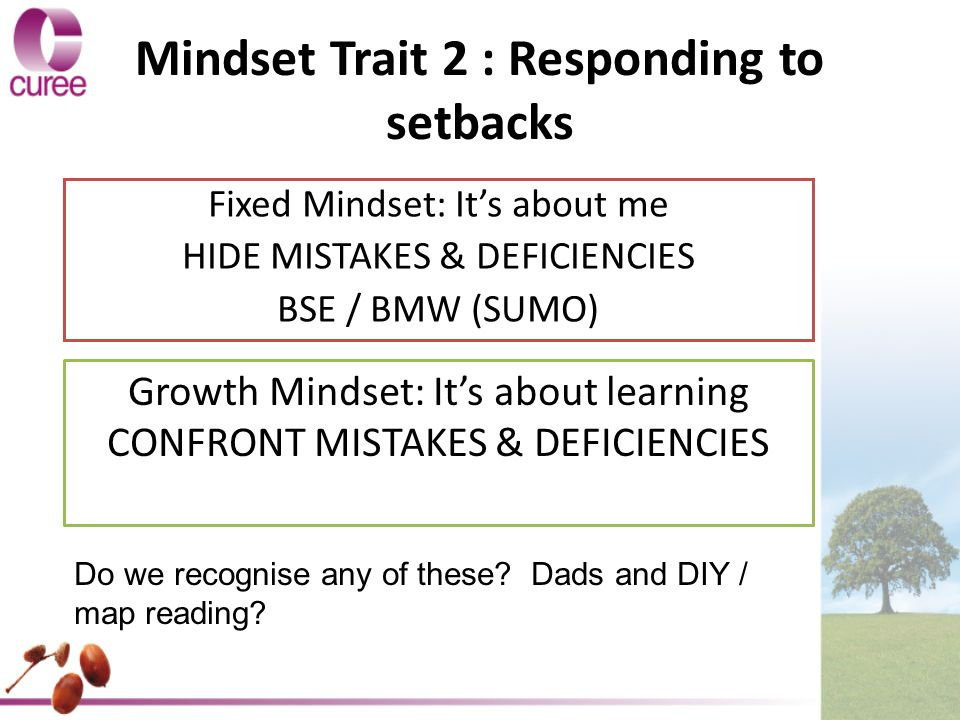 Mindset Trait 2 : Responding to setbacks