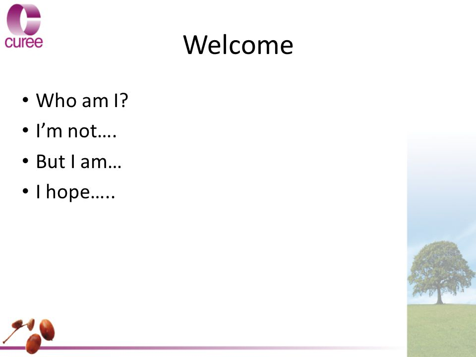 Welcome Who am I I'm not…. But I am… I hope…..