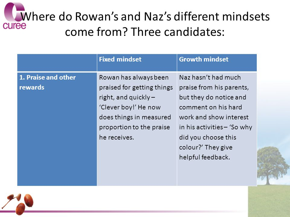 Where do Rowan's and Naz's different mindsets come from