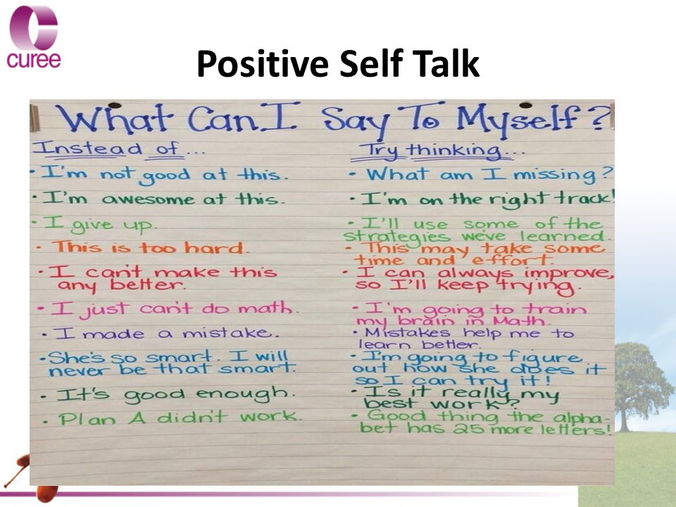 Positive Self Talk Add John Tomsett slide