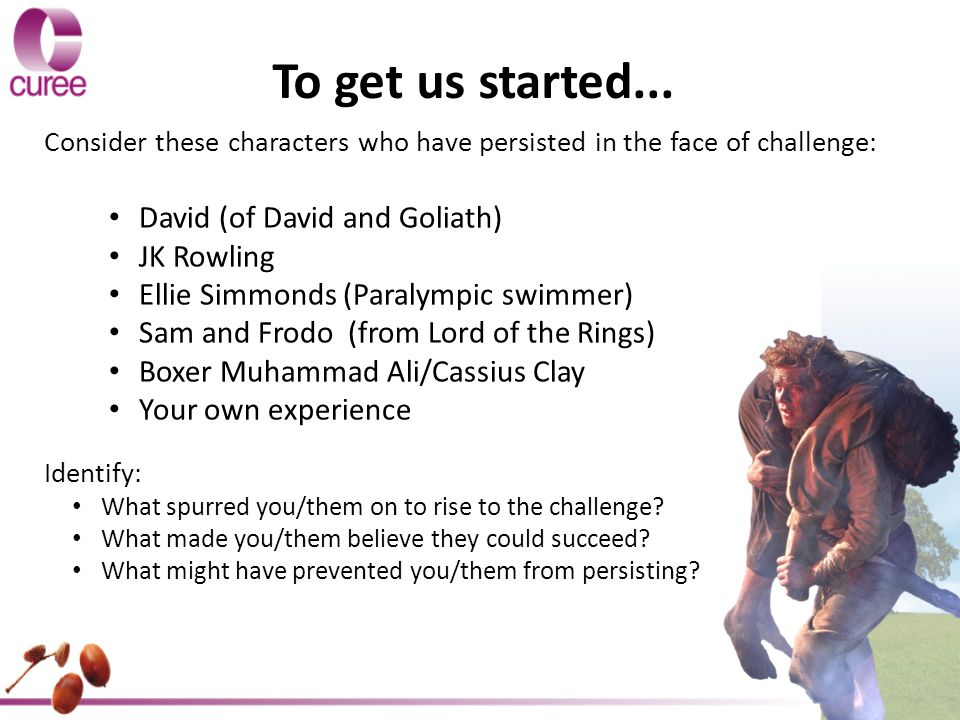 To get us started... David (of David and Goliath) JK Rowling