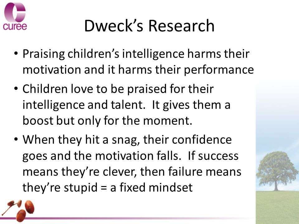 Dweck's Research Praising children's intelligence harms their motivation and it harms their performance.
