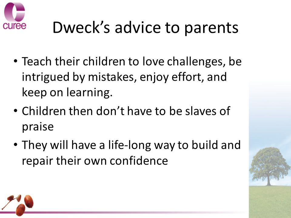 Dweck's advice to parents