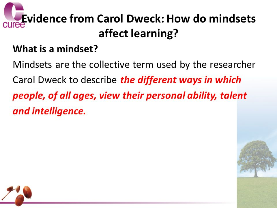 Evidence from Carol Dweck: How do mindsets affect learning
