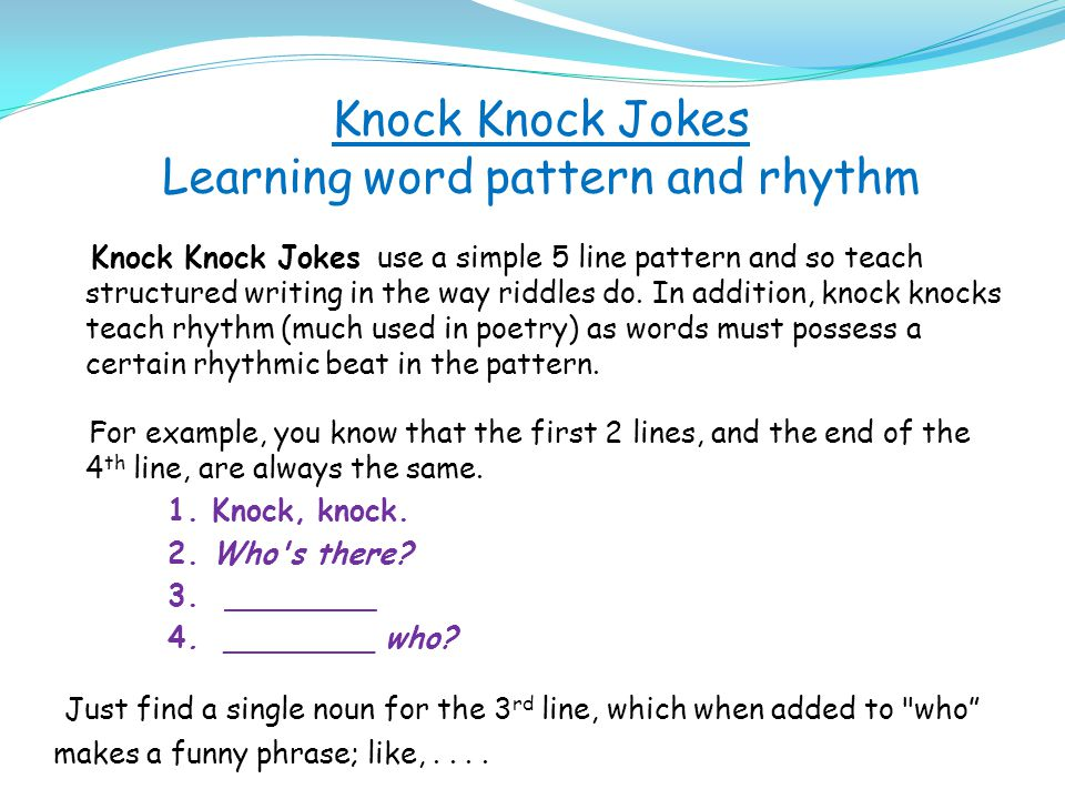 Knock Knock Jokes Learning word pattern and rhythm