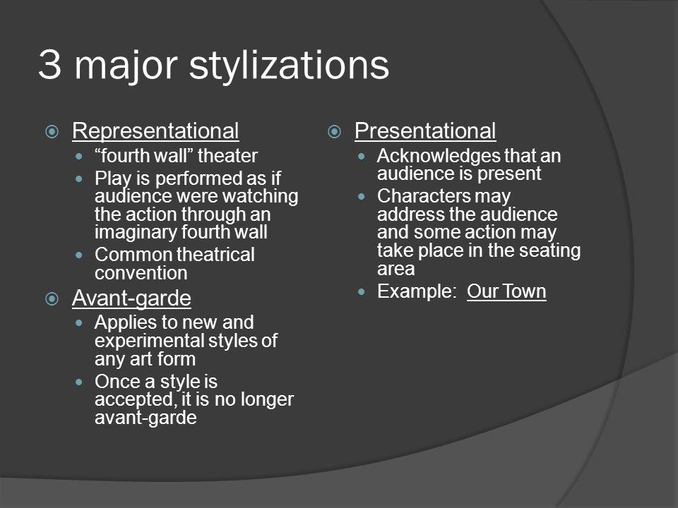 3 major stylizations Representational Avant-garde Presentational