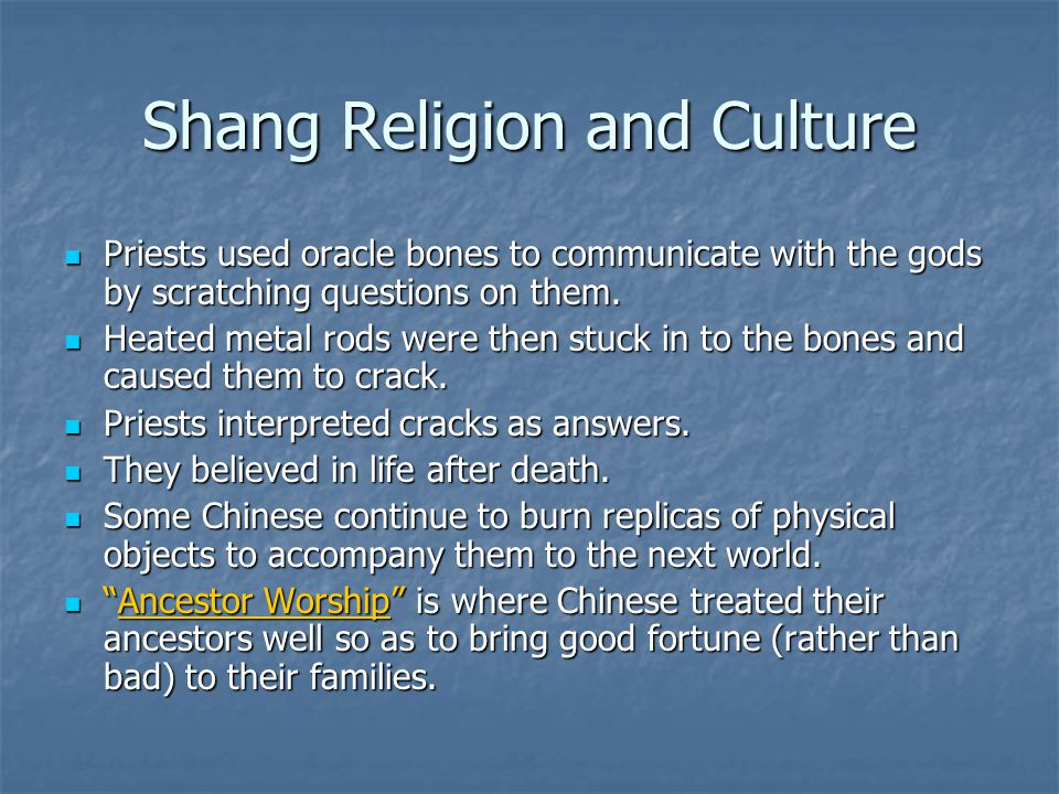 Shang Religion and Culture
