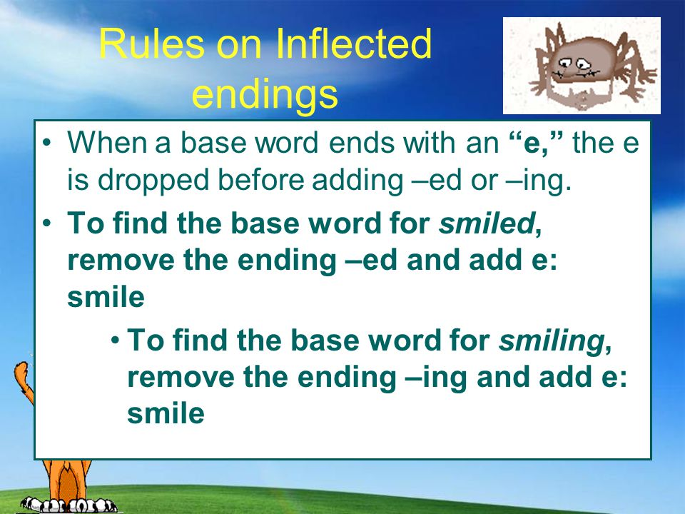 Rules on Inflected endings