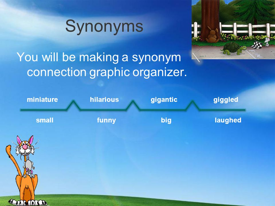 Synonyms You will be making a synonym connection graphic organizer.