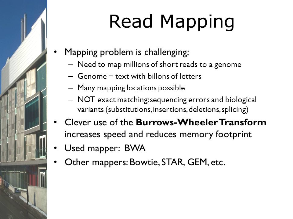 Read Mapping Mapping problem is challenging: