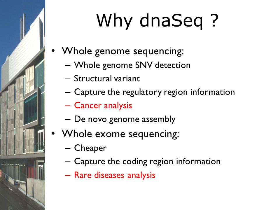 Why dnaSeq Whole genome sequencing: Whole exome sequencing: