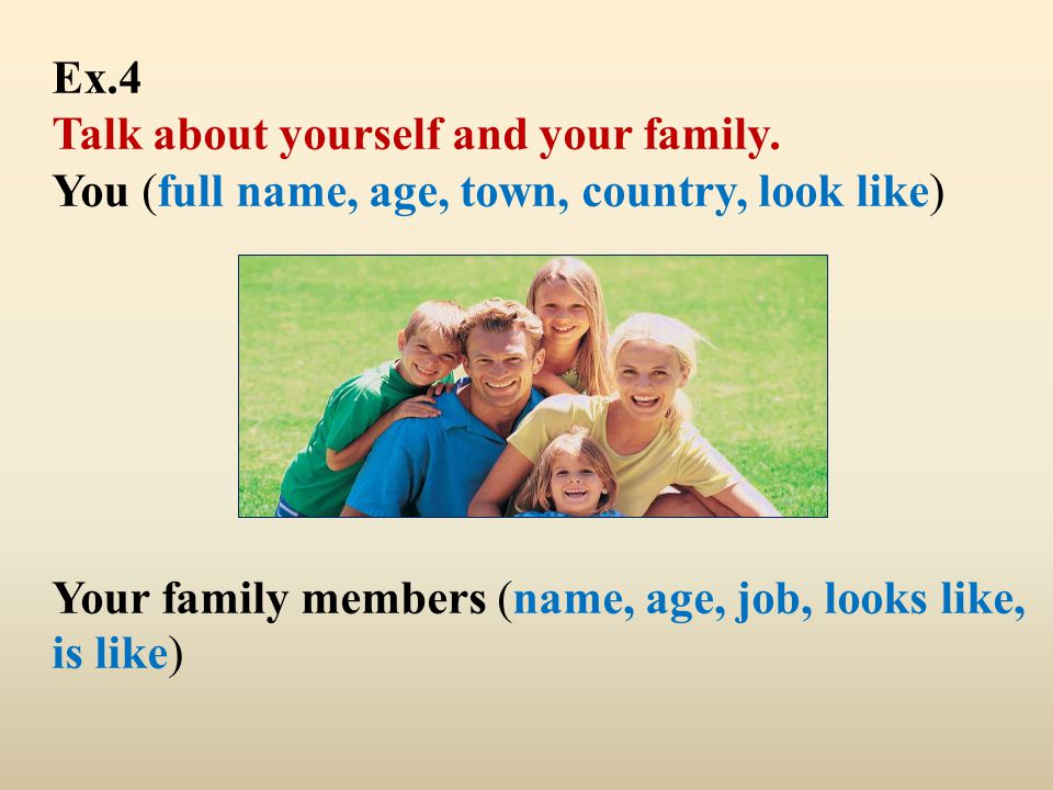 Ex. 4 Talk about yourself and your family