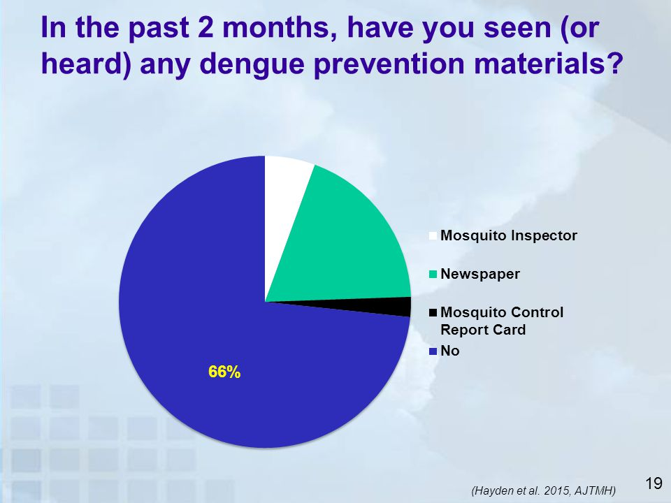 In the past 2 months, have you seen (or heard) any dengue prevention materials