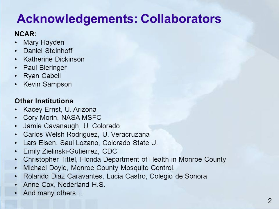 Acknowledgements: Collaborators