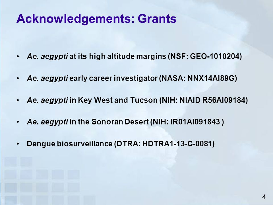 Acknowledgements: Grants