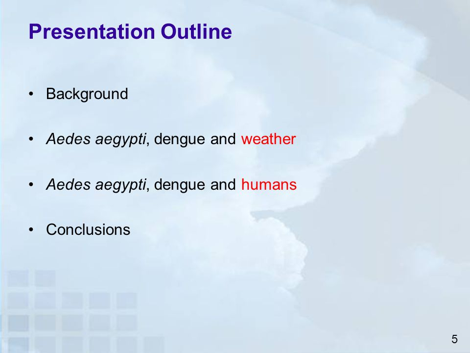 Presentation Outline Background Aedes aegypti, dengue and weather