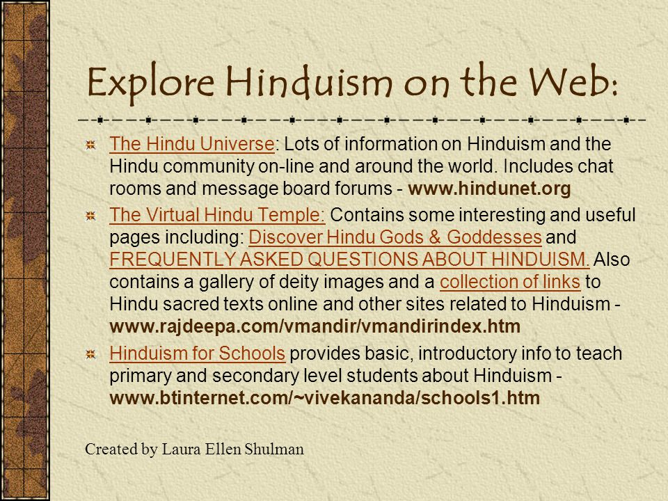 Explore Hinduism on the Web:
