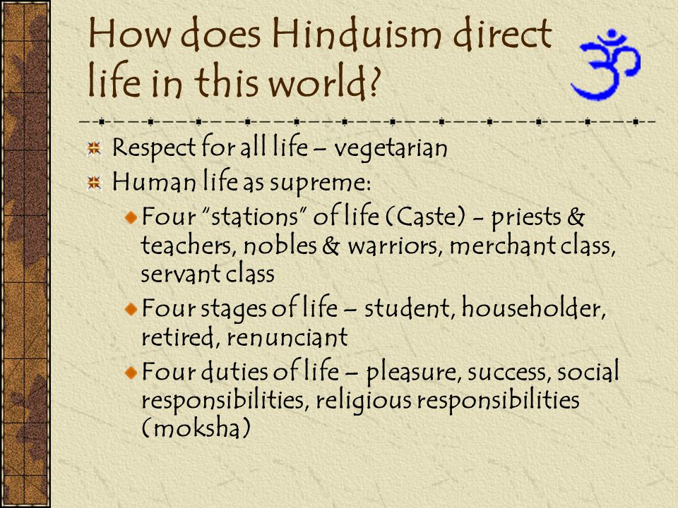 How does Hinduism direct life in this world