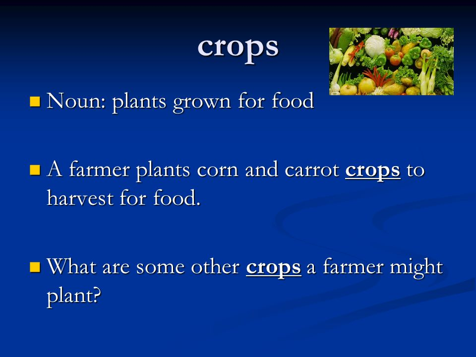 crops Noun: plants grown for food