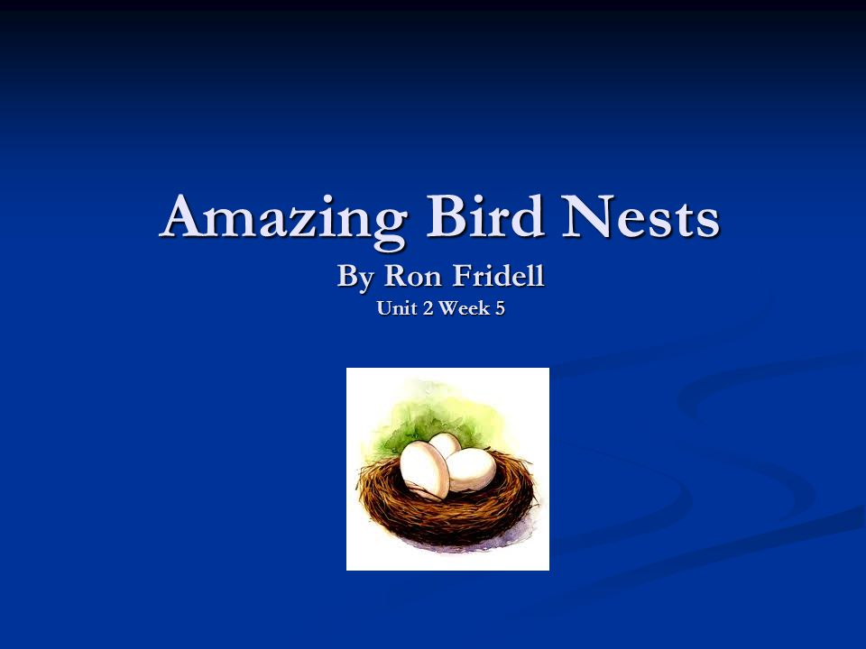 Amazing Bird Nests By Ron Fridell Unit 2 Week 5