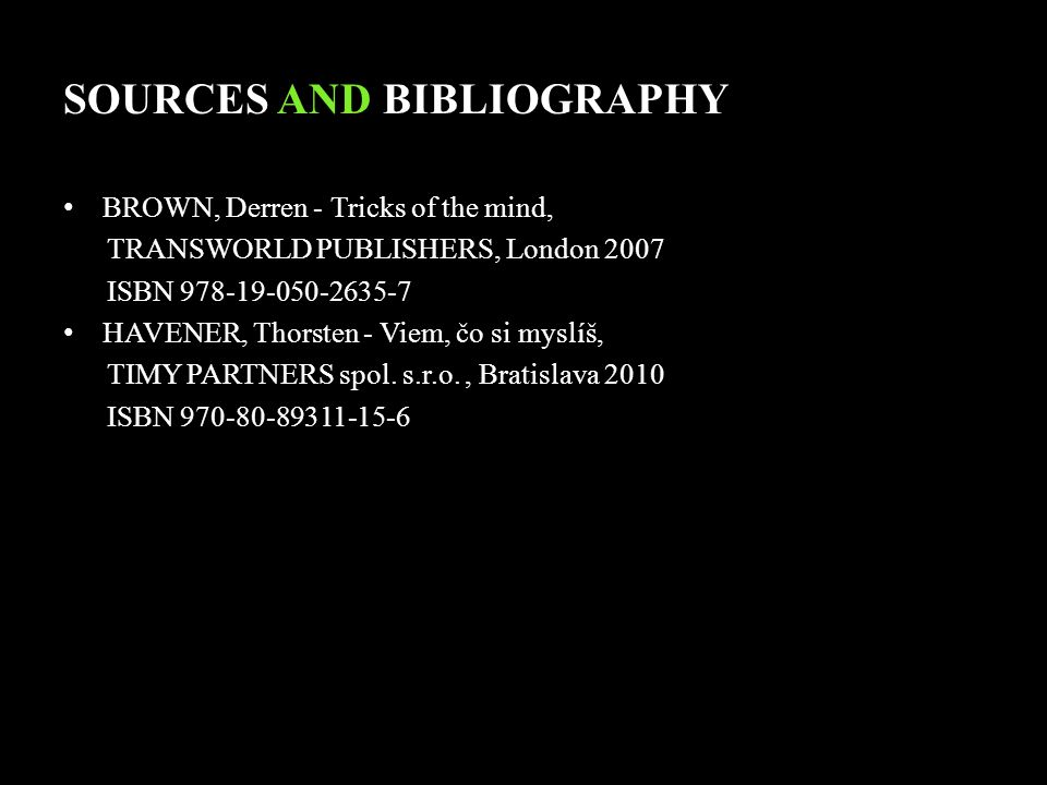 SOURCES AND BIBLIOGRAPHY
