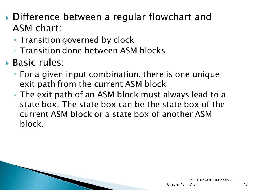 Difference between a regular flowchart and ASM chart: