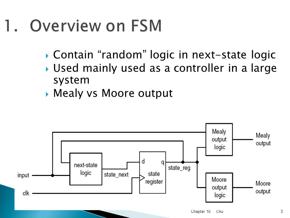 Overview on FSM Contain random logic in next-state logic