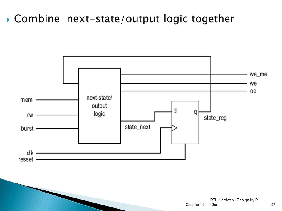 Combine next-state/output logic together