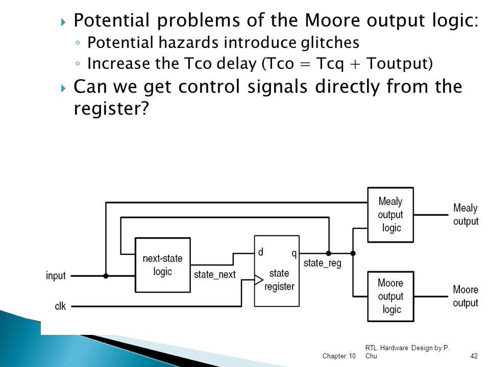 Potential problems of the Moore output logic: