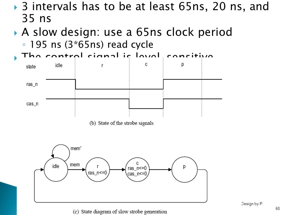 3 intervals has to be at least 65ns, 20 ns, and 35 ns