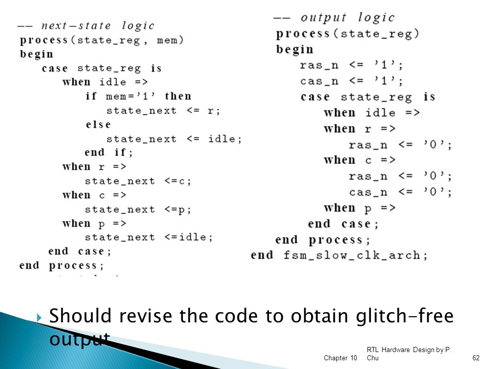 Should revise the code to obtain glitch-free output
