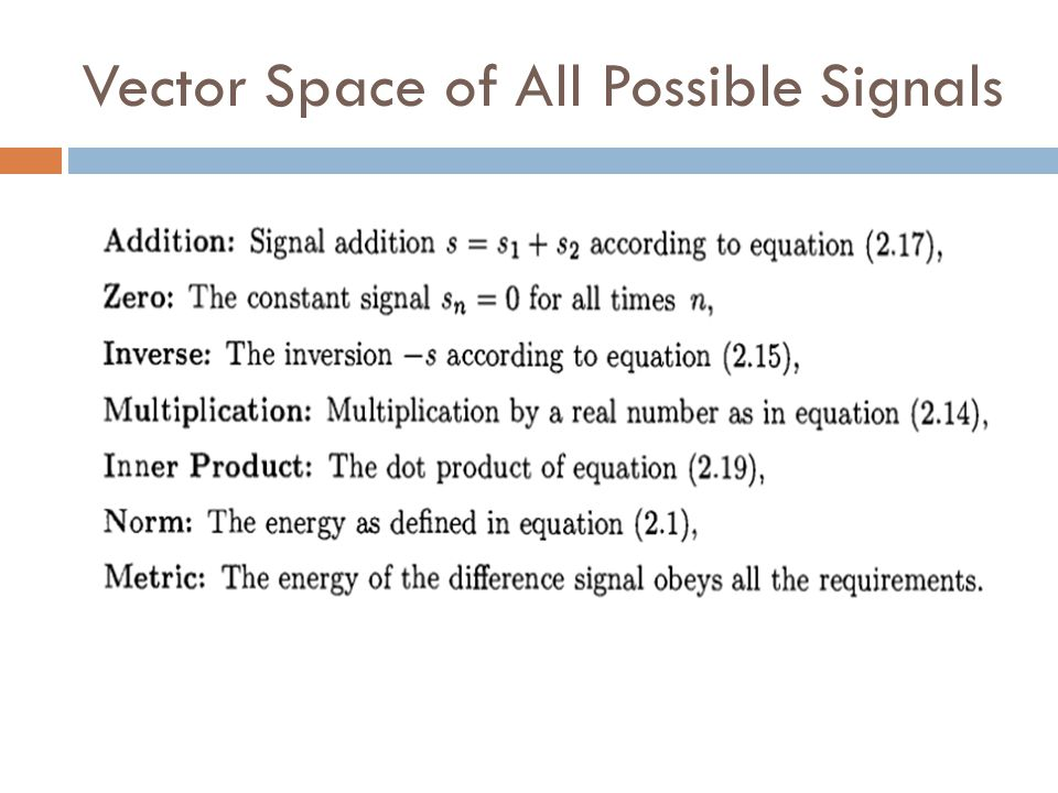 Vector Space of All Possible Signals