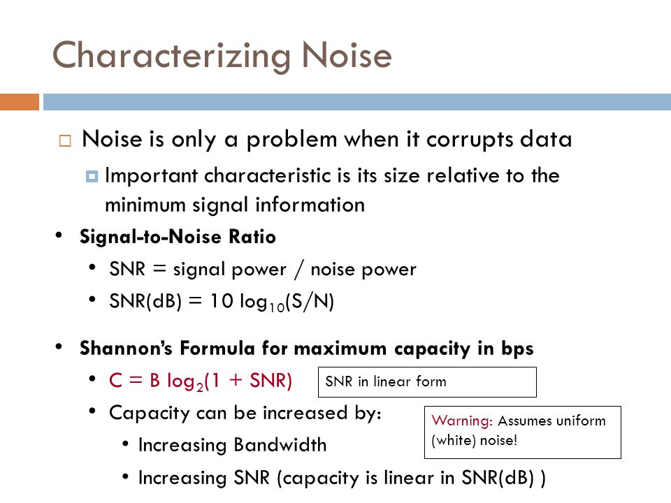 Characterizing Noise Noise is only a problem when it corrupts data