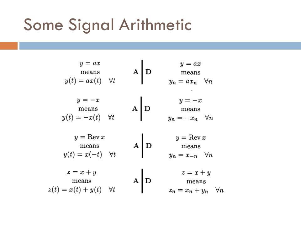 Some Signal Arithmetic