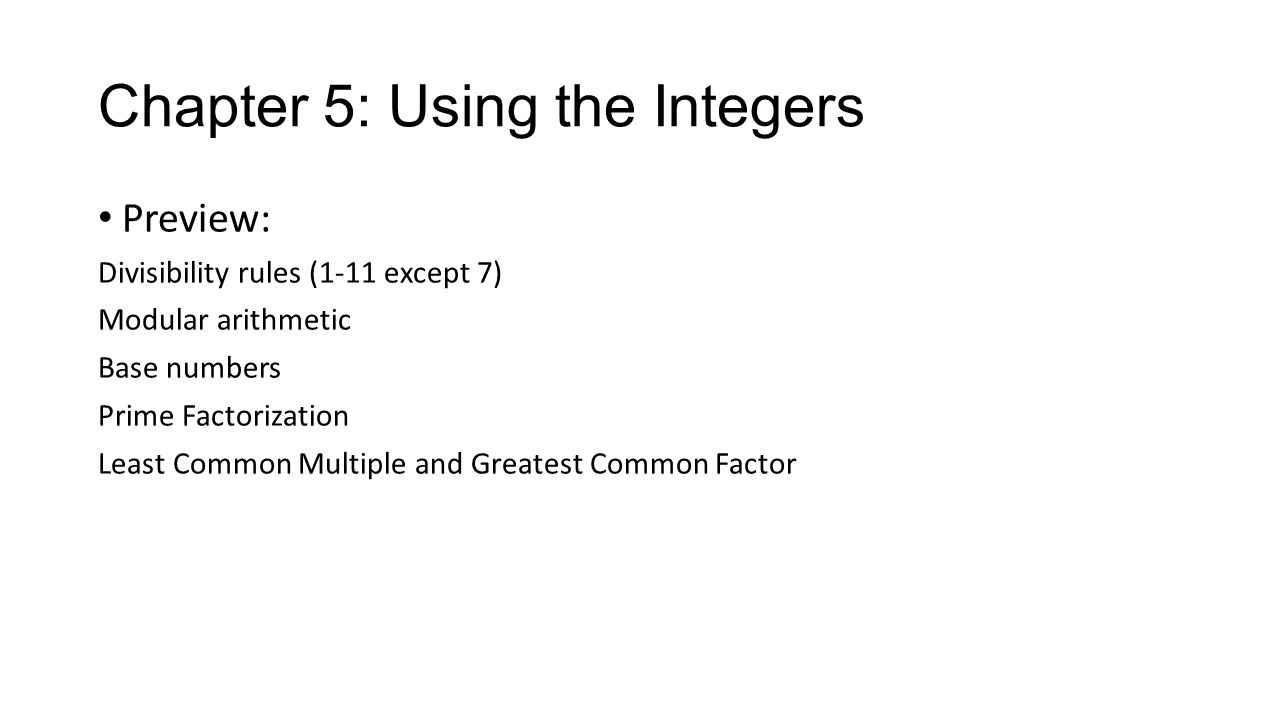 Chapter 5: Using the Integers