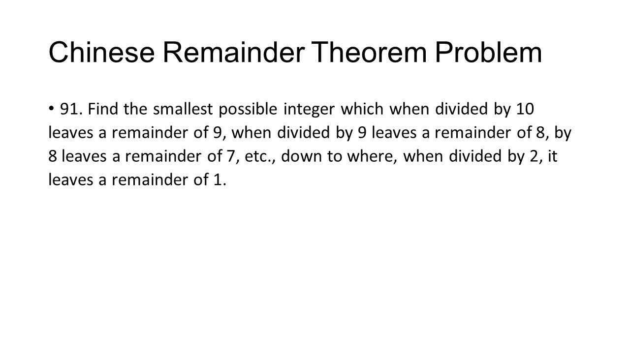 Chinese Remainder Theorem Problem