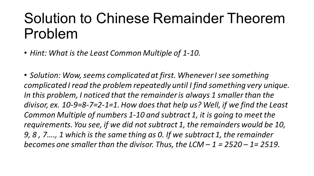 Solution to Chinese Remainder Theorem Problem