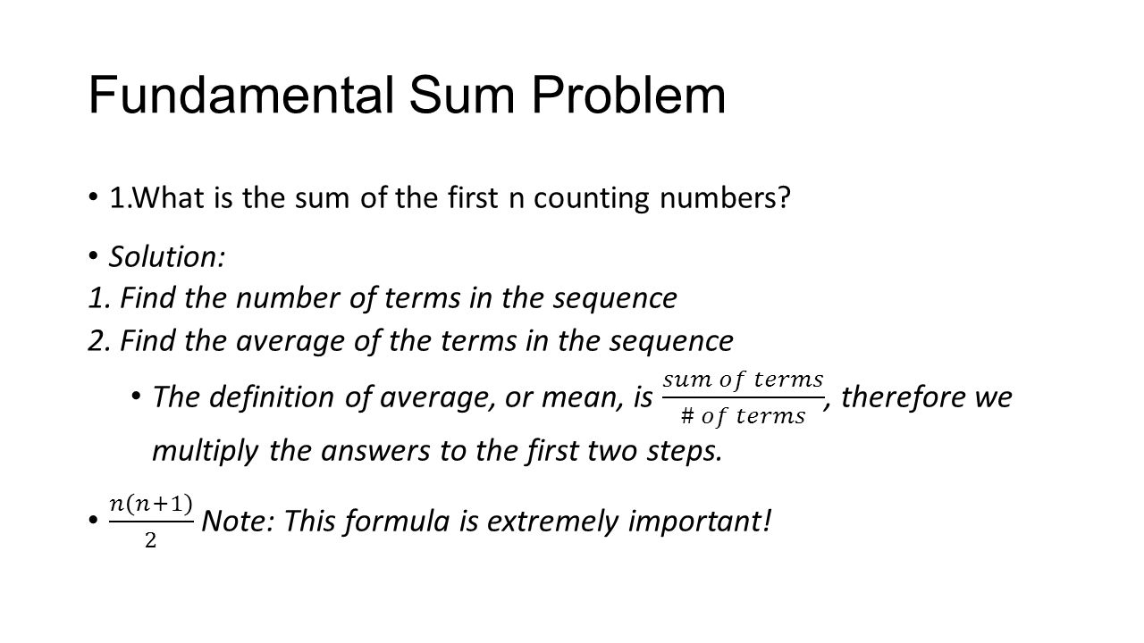 Fundamental Sum Problem