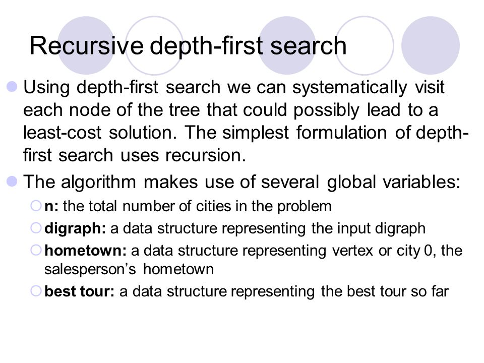 Recursive depth-first search