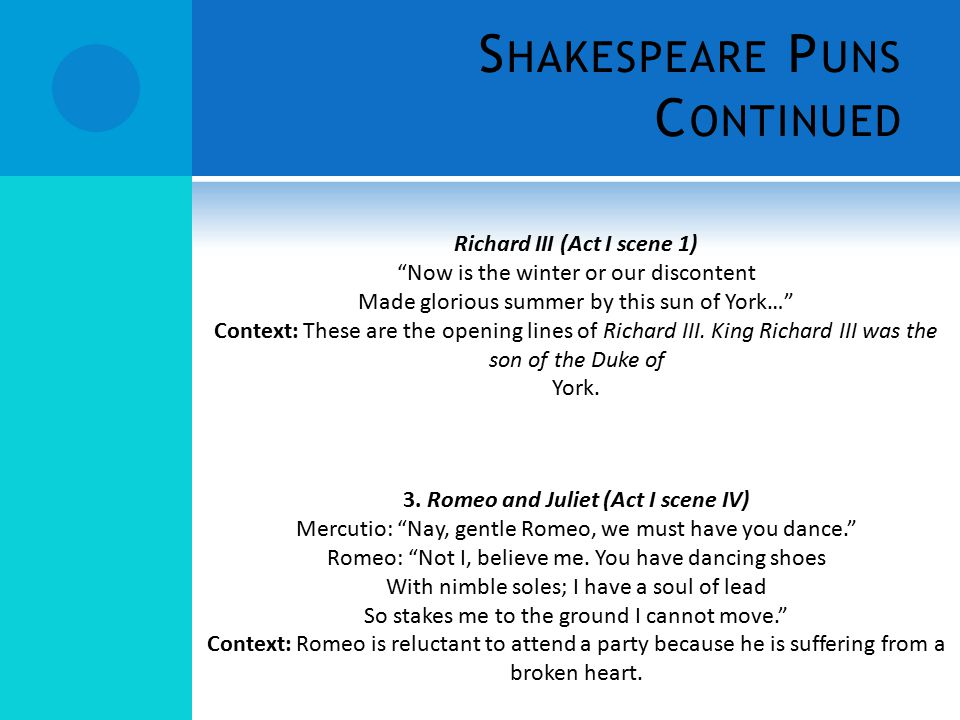 Shakespeare Puns Continued