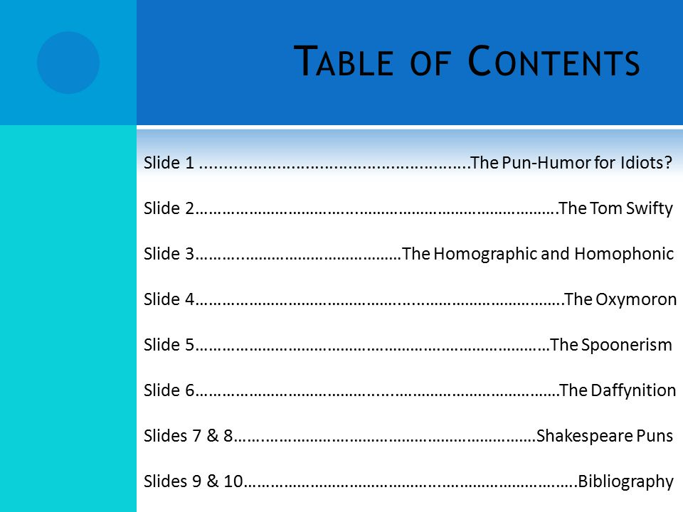 Table of Contents Slide 1 .........................................................The Pun-Humor for Idiots
