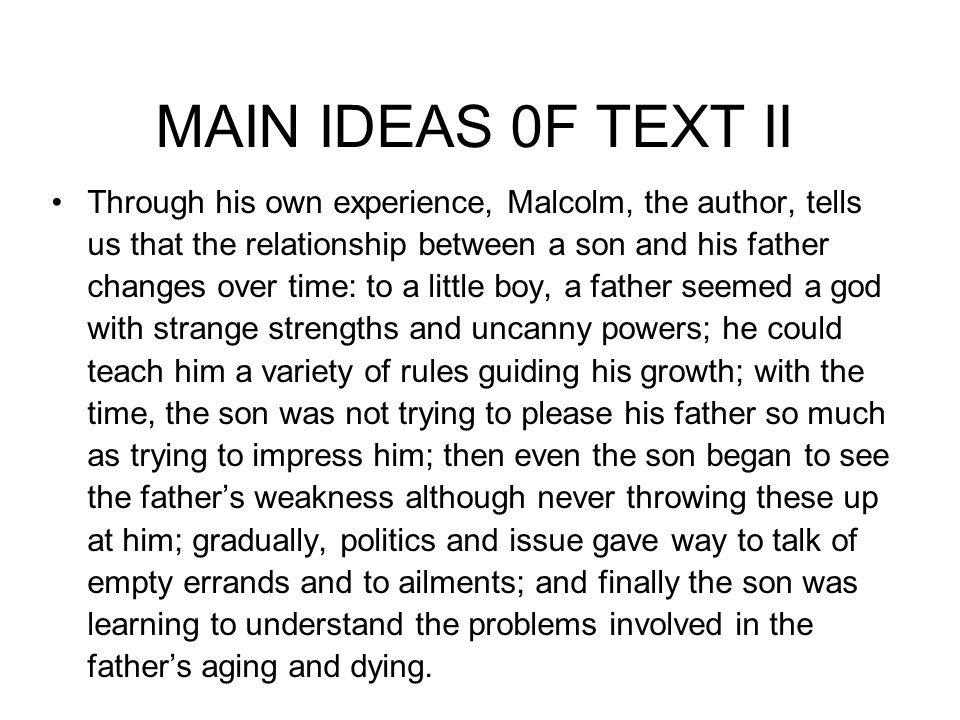 MAIN IDEAS 0F TEXT II