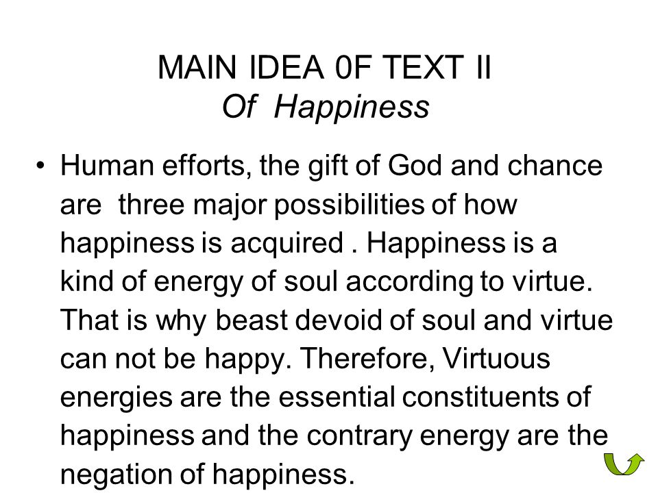 MAIN IDEA 0F TEXT II Of Happiness