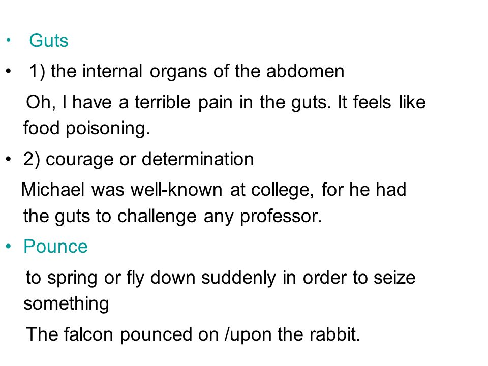 Guts 1) the internal organs of the abdomen. Oh, I have a terrible pain in the guts. It feels like food poisoning.