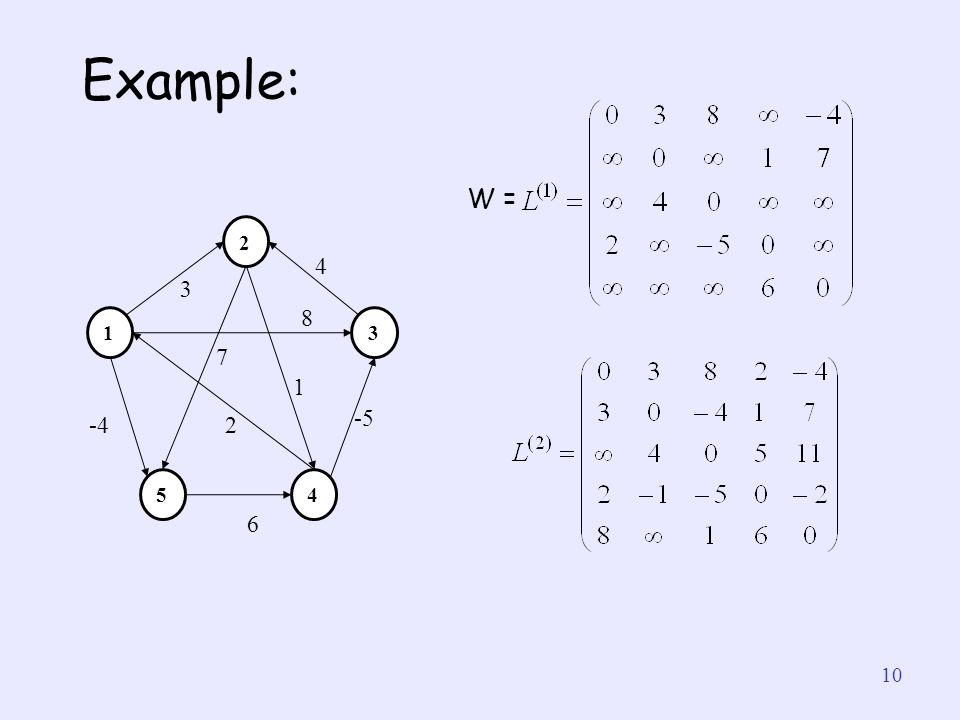 Example: W = 1 4 5 2 3 -4 7 6 -5 8