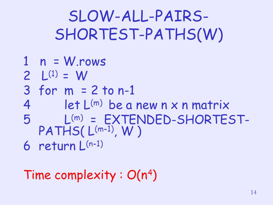 SLOW-ALL-PAIRS-SHORTEST-PATHS(W)
